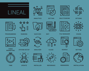 Line vector icons in a modern style. Programs and Features, windows applications, browser, pages prototyping interface, application programming.