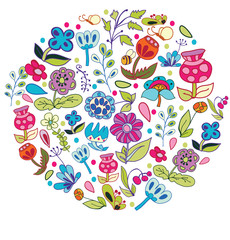 colorful background with drawing flowers of the field in the shape of a circle on a white background
