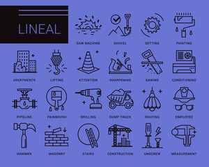 Line vector icons in a modern style. Repair of buildings and facilities, finishing works, plumbing, real estate construction, turnkey home.