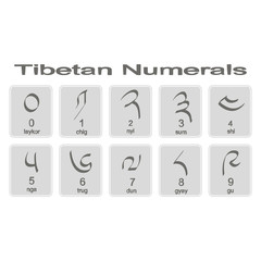 Set of monochrome icons with tibetan numerals for your design