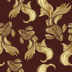 Abstract Gold fish seamless pattern, vintage. Decorative elegant fish, with golden scales, with a variety of gold ornaments. Jewel ornament. Rich, luxurious design element. Wallpaper, fabric design