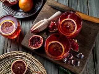 Blood orange and pomegranate cocktails