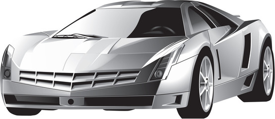 Luxury grey steel modern fast driving sports car with highlight on the front window, xenon headlights. Lifelike detailed isolated vector.