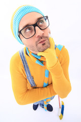 minion yellow blue scarf mop white background