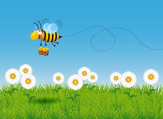 Vignetta di ape che trasporta miele tra i fiori
