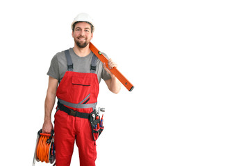 Handwerker mit Werkzeug in Arbeitskleidung freigestellt // craftsman with tools in working clothes - isolated