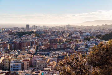 Scenic aerial view of the city of Barcelona in Spain