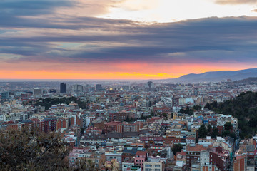 Panoramic view of Barcelona city from the mountain, Spain.