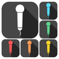 Microphone Icons set with long shadow