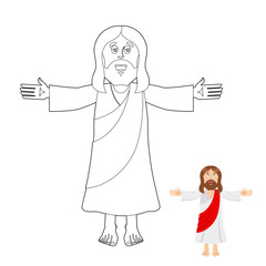 Jesus coloring book. Jesus christ drawing for children. Linear b