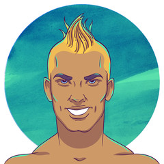 Smiling young tanned guy with a mohawk hairstyle