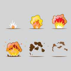 Explosion effect in cartoon style.