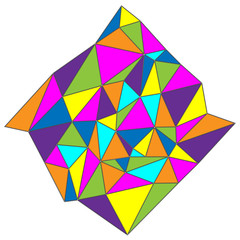 Abstract triangular figure. Colored polygonal crystal texture on white background.