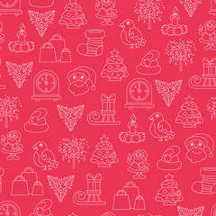 Vector seamless pattern with cartoon symbols of Happy New Year and Christmas Day on red color