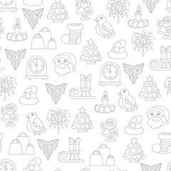 Vector seamless pattern with cartoon symbols of Happy New Year and Christmas Day on white color