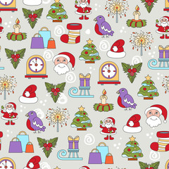 Vector seamless pattern with cartoon symbols of Happy New Year and Christmas Day