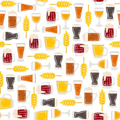 Vector seamless pattern with isolated mugs of beer