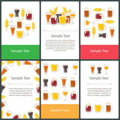 Vector set of colored prepared cards on the theme of beer, drinks
