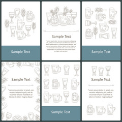 Vector set of prepared cards on the theme of beer, drinks