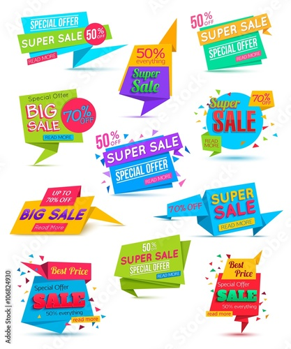 Set Paper Banner Template Super Sale Special Offer On Colorful Background