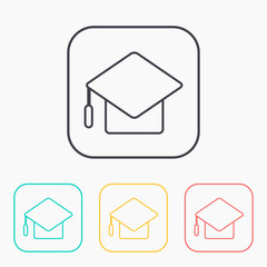 color icon set of academic hat