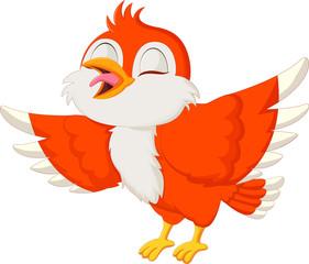 Cute red bird singing