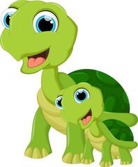 Cute cartoon turtle and son