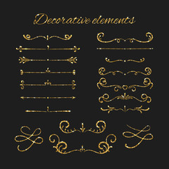 Golden dividers set. Ornamental decorative elements. Vector ornate elements design. Gold flourishes.