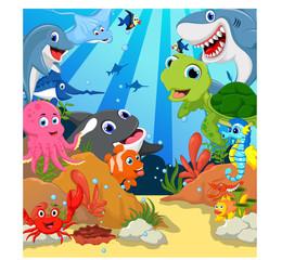 funny sea animals cartoon set