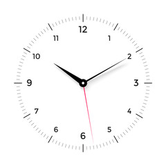 White clock face with black and red pointer on white background. Vector Illustration