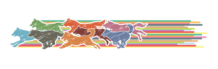 Dogs running designed using colorful graphic with line rainbows vector.