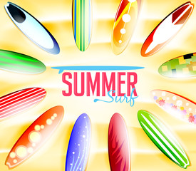 Summer Surf Typography Surrounded by Colorful Surfboards with Different Designs Laying in the Sand Background. Vector Illustration