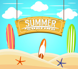 Hanging Summer Surfing Sign with Colorful Surfboards and Starfish in the Sand on a Sunny Day for Summer Adventure. Vector Illustration