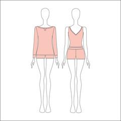 shirt for girls night. top. shorts.  Pyjamas for women.