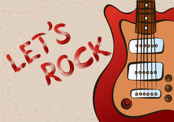 Inscription let's rock on grunge background