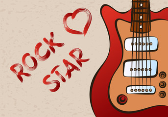 Inscription rock star on grunge background