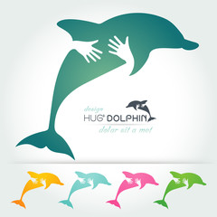 preserve Dolphin with hand,hug and heart concept