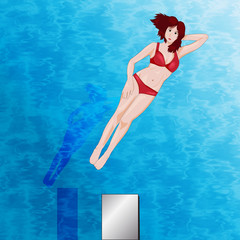 vector of a girl floating