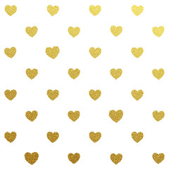 Gold heart seamless glitter pattern on white background