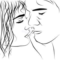 Мужчина и женщина прикосновение поцелуя. Пара силуэт черные линии на белом фоне.