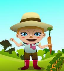 a cute girl on the farm vector