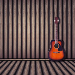 acoustic guitar wood background. vintage style.