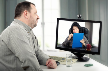 Online psychotherapy for man