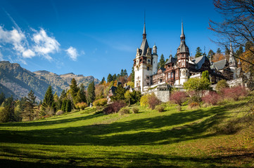 Printed roller blinds Castle Sinaia, Romania - October 19th,2014 View of Peles castle in Sinaia, Romania, built by king Carol I of Romania. The castle is considered to be the most important historic building in Romania.