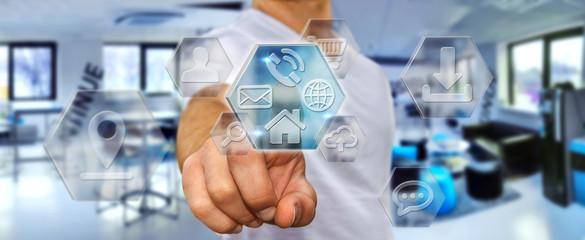 Businessman using modern digital applications
