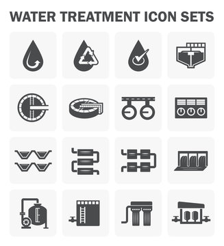 Water treatment icon and process, That removes contaminants and undesirable components to improves the quality of water appropriate for end-use such as drinking or water supply, Vector icon design.