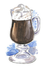 Glass of irish coffee drawn by watercolor and ink.