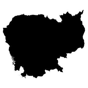 Cambodia black map on white background vector