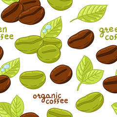 Seamless pattern with organic coffee beans