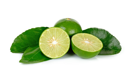 lime and leaves isolated on the white